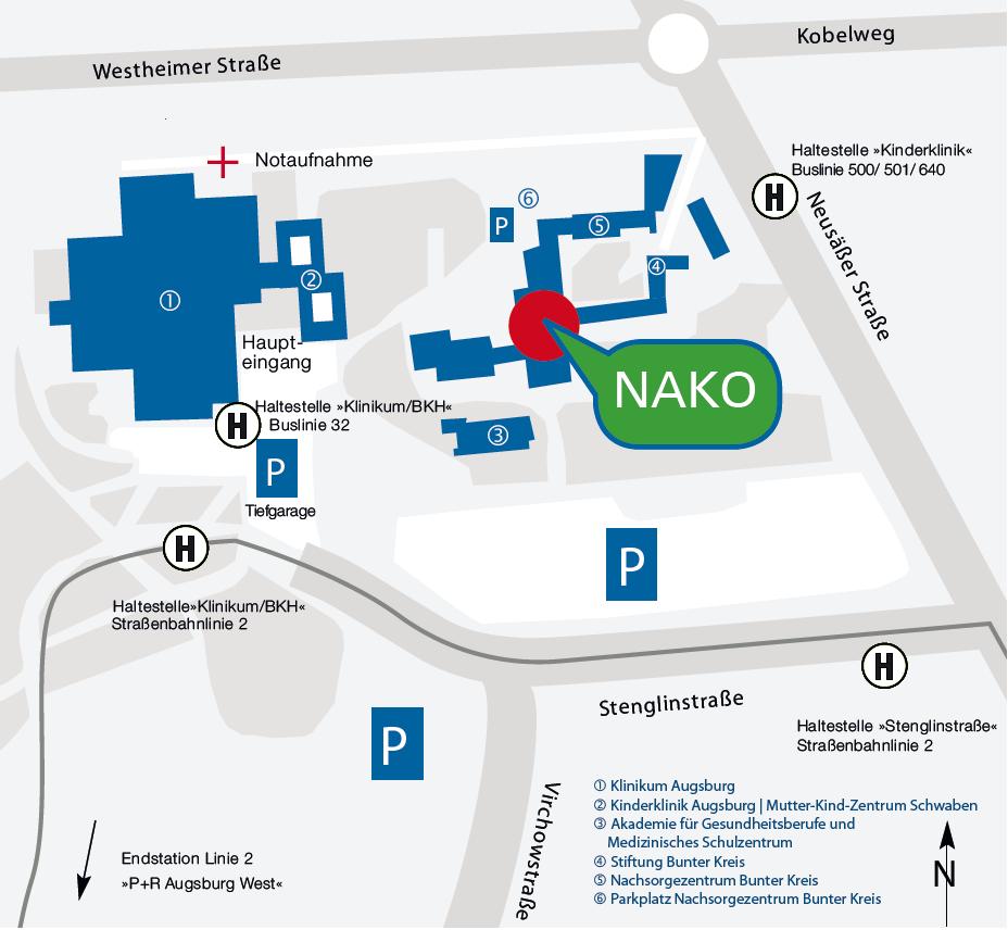 Lageplan der NAKO am Klinikum Augsburg